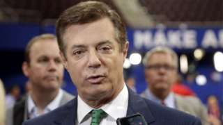 In this July 17, 2016 file photo, Trump campaign chairman Paul Manafort talks to reporters on the floor of the Republican National Convention at Quicken Loans Arena in Cleveland